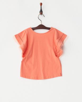 オレンジ  ハシゴレース×チュールスリーブカットソー(130以下)見る