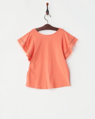 オレンジ  ハシゴレース×チュールスリーブカットソー(140以上)見る