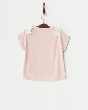 ピンク  シフォンリボン ロールアップ袖カットソー(140以上)見る