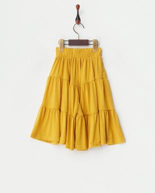 イエロー  ギャザー切替 スカート風パンツ(130以下)見る