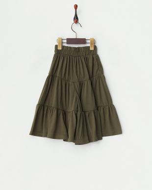 カーキ  ギャザー切替 スカート風パンツ(130以下)見る