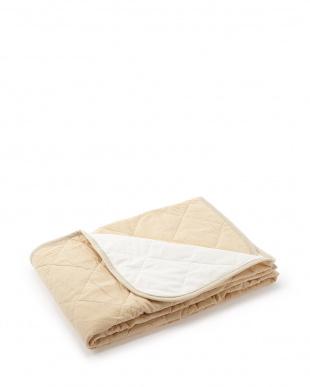 ベージュ  裏面すべり止めタイプ 麻入り綿ちぢみ敷きパッド シングル見る