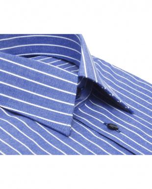 ブルー系 レギュラーカラー チョークストライプシャツ見る