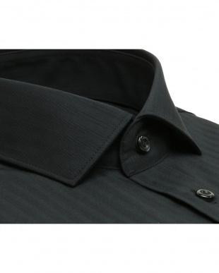 ブラック系 ショートワイド シャドーストライプシャツ見る