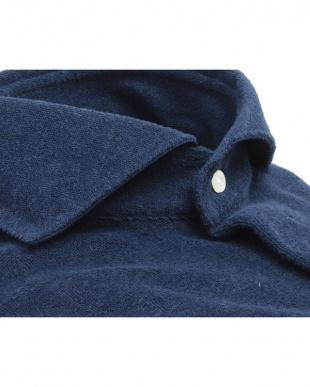 ブルー系  ホリゾンタル ワイド コンフォートニットシャツ見る