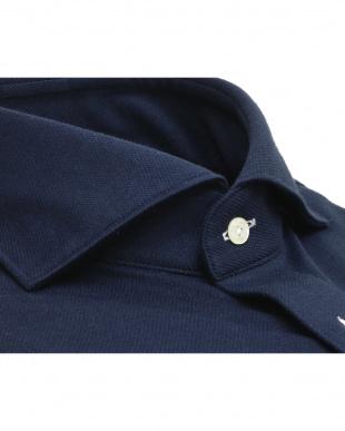 ブルー系 ホリゾンタル ワイド ニットシャツ見る