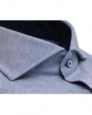 ブルー系 ホリゾンタルワイド ニットシャツ見る