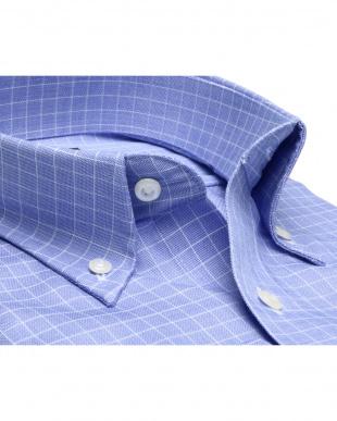 ブルー系 ボタンダウン ウィンドウペンチェックシャツ見る
