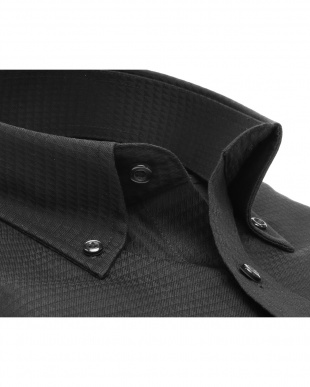 ブラック系 ボタンダウン 幾何学模様織シャツ見る