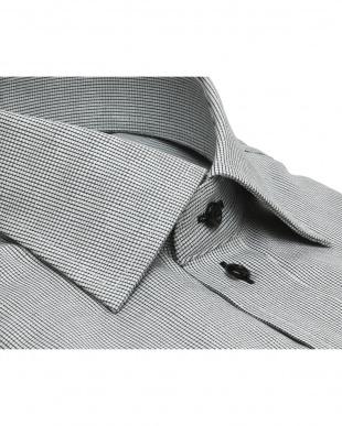 グレー系 ワイドカラー ダイヤチェック プレミアムコットンシャツ見る