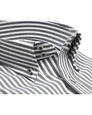 ブラック系 ボタンダウン ストライプ プレミアムコットンシャツ見る