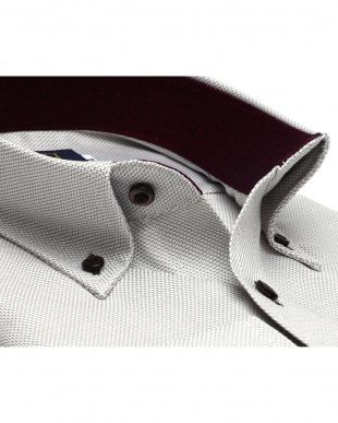 ベージュ系 ボタンダウン 幾何学柄 プレミアムコットンシャツ見る