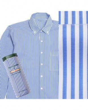 ブルー系  ボタンダウン ストライプ ピマコットンシャツ見る