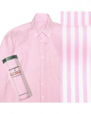 ピンク系  ボタンダウン ストライプ ピマコットンシャツ見る