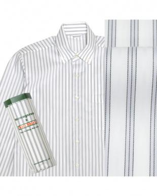グレー系 ボタンダウン ダブルストライプ ピマコットンシャツ見る