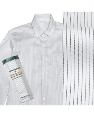 ネイビー系 ボタンダウン ピンストライプ ピマコットンシャツ見る
