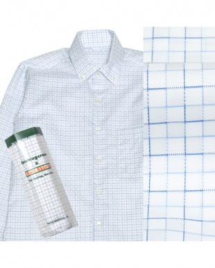 ブルー系 ボタンダウン ステッチ風チェック ピマコットンシャツ見る