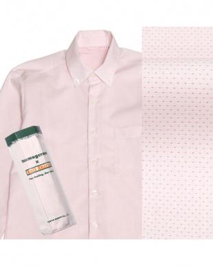 ピンク系  ボタンダウン 刺し子調 ピマコットンシャツ見る