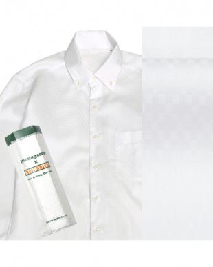 ホワイト系 ボタンダウン 小紋ダイヤチェック ピマコットンシャツ見る