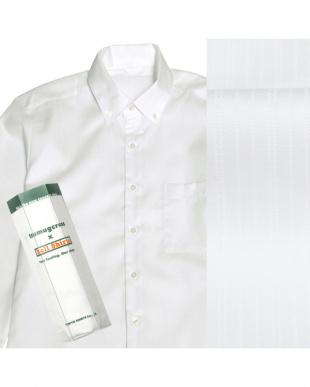 ホワイト系 ボタンダウン ストライプ織 ピマコットンシャツ見る