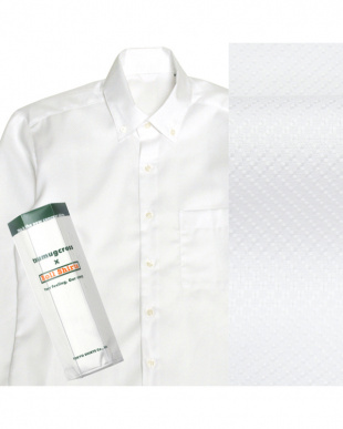 ホワイト系 ボタンダウン 織柄 ピマコットンシャツ見る