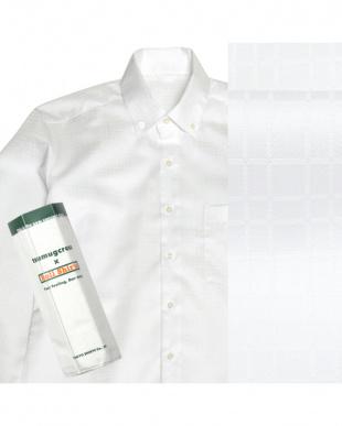 ホワイト系 ボタンダウン 格子織柄 ピマコットンシャツ見る