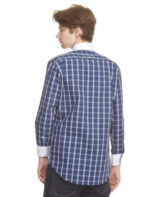 ブルー系 形態安定 クレリックメンズチェックシャツ見る