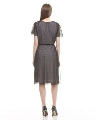 ブラック  チュールアウター付ドレス見る