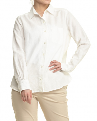 オフホワイト リネン混 ウォッシュ加工2WAYシャツ見る