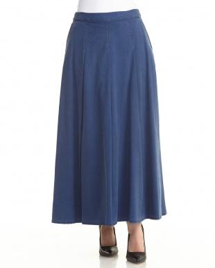 ブルー テンセルデニム ロングスカート見る
