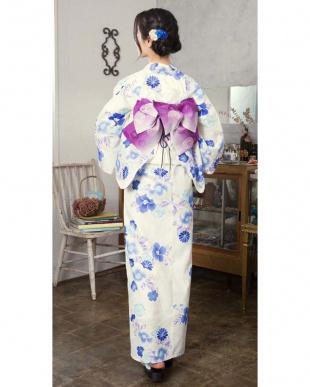 ホワイト系 四季花ブーケ 浴衣+造り帯+下駄 3点セット|WOMEN見る