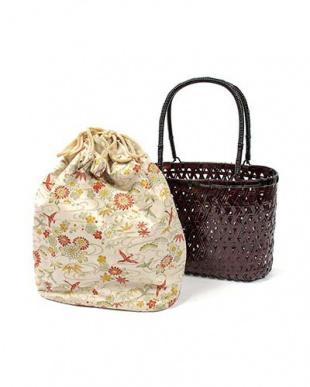 ベージュ系  BR竹製かご巾着バッグ|WOMEN見る