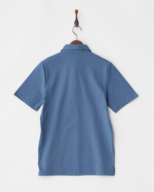 ブルー  COOLMAX ホリゾンタルカラー調ポロシャツ|MEN見る