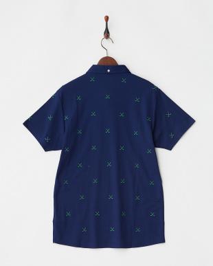 ネイビー×グリーン  エンブレムワッペンクロスゴルフクラブ刺繍ポロシャツ|MEN見る