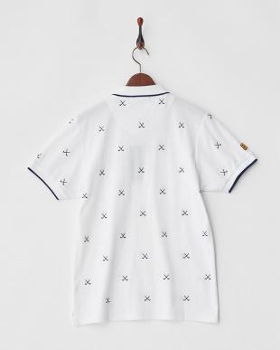 ホワイト×ネイビー  Polygiene STAY FRESH HALYRUIDワッペンクロスゴルフクラブ刺繍ポロシャツ|MEN見る