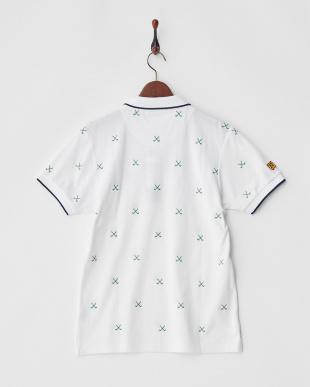 ホワイト×グリーン  Polygiene STAY FRESH HALYRUIDワッペンクロスゴルフクラブ刺繍ポロシャツ|MEN見る