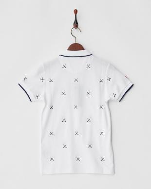 ホワイト×ネイビー  Polygiene STAY FRESH HALYRUIDワッペンクロスゴルフクラブ刺繍ポロシャツ|WOMEN見る