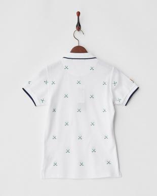 ホワイト×グリーン  Polygiene STAY FRESH HALYRUIDワッペンクロスゴルフクラブ刺繍ポロシャツ|WOMEN見る