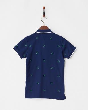 ネイビー×グリーン  Polygiene STAY FRESH HALYRUIDワッペンクロスゴルフクラブ刺繍ポロシャツ|WOMEN見る