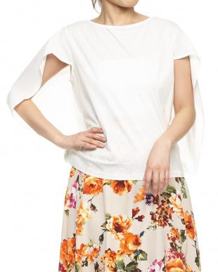 ホワイト  変形袖Tシャツ見る