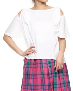 ホワイト  袖フレアショルダーリボンTシャツ見る