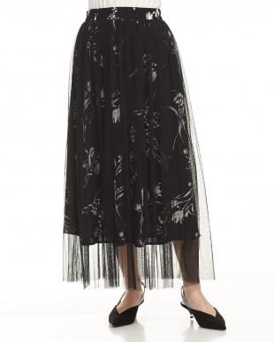BLACK 花柄チュールプリーツスカート見る