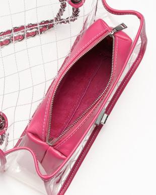 ピンク  ポーチ付きクリアチェーンバッグ見る