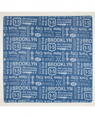 ブルー  ブルックリン コットンジャガードラグ 185×185cm見る