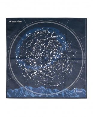 星座柄のプリントラグ スター 185×185cm見る