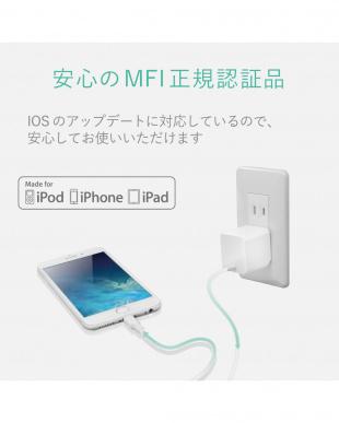 ホワイト 耐久力10倍iPhone用LightningAC充電器/2.4A出力/1.5m見る