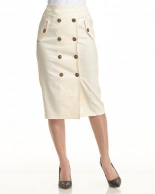 ブラウン  フロントボタン ストレッチタイトスカート見る