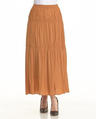 オレンジ  ティアードマキシスカート見る