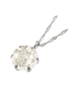Pt999 純プラチナ 天然ダイヤモンド 0.9ct・Hカラー・I1クラス 6本爪ネックレス(チェーンPt850)見る