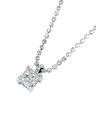 Pt999 純プラチナ 天然ダイヤモンド 0.15ct プリンセスカット ネックレス(チェーンSV)見る